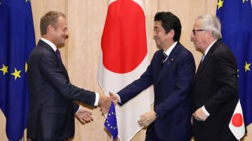 EU representatives and Japanese PM reaching an agreement on the EU-Japan Trade deal